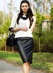 $1214 New With Tags ESCADA Black Leather Skirt 6